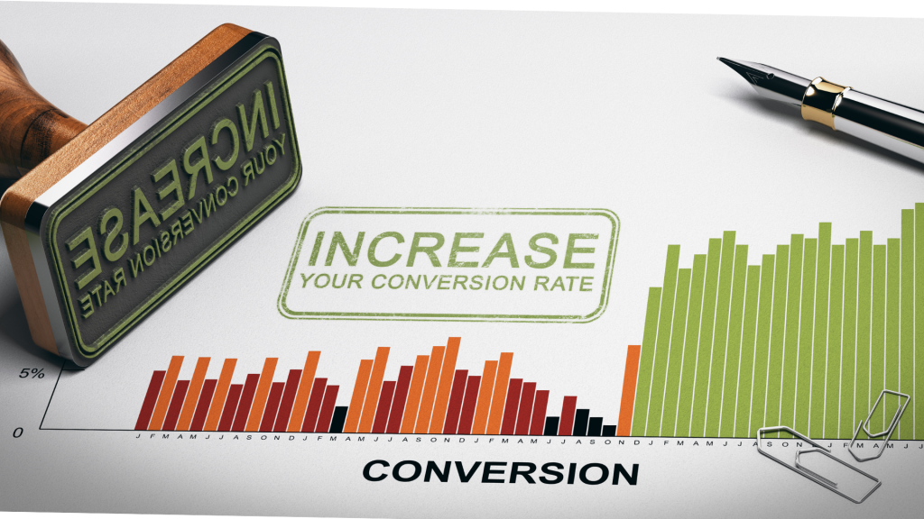The image contain a graph showing the conversion rate before and after SEO.