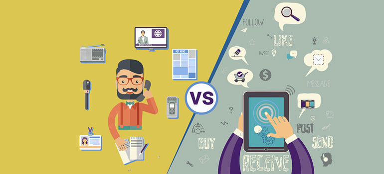 This image highlights the difference between traditional marketing tools vs digital marketing tools