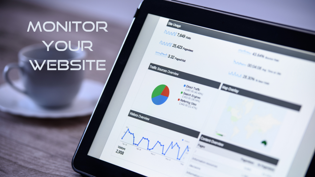 Image shows the website analytics