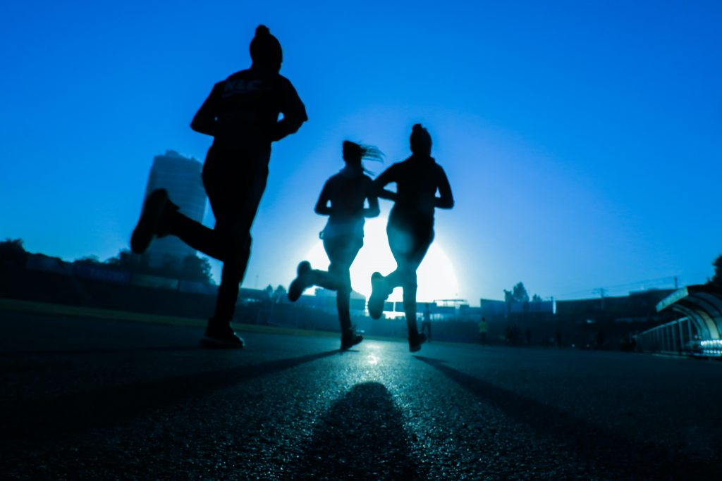 People running.