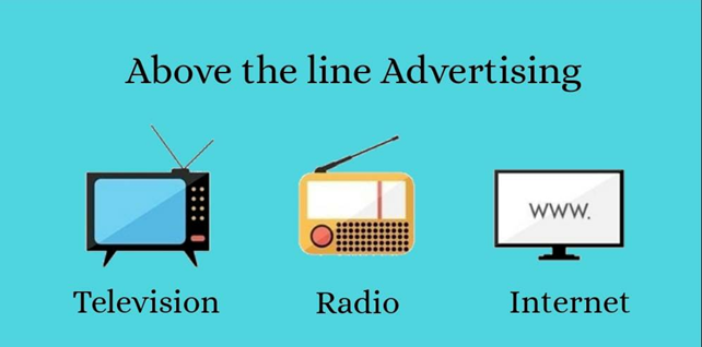 Above-the-line promotion, advertising, Television, Radio, Internet