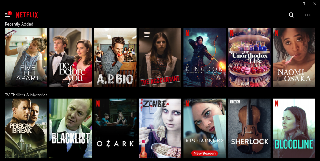 Netflix homepage with movie and show recommendations