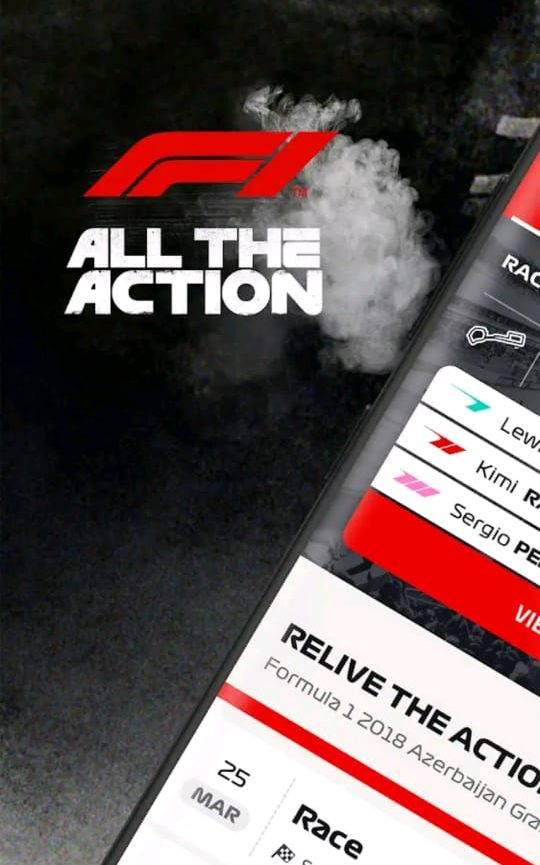 """Promotional image for F1's mobile application with the F1 logo and the words """"ALL THE ACTION"""" and a cropped image of a mobile touvh phone open on the F1 mobile app home page"""