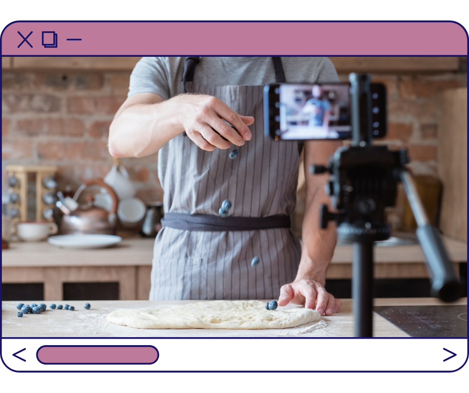 Browser view of a person baking to create content for their YouTube channel