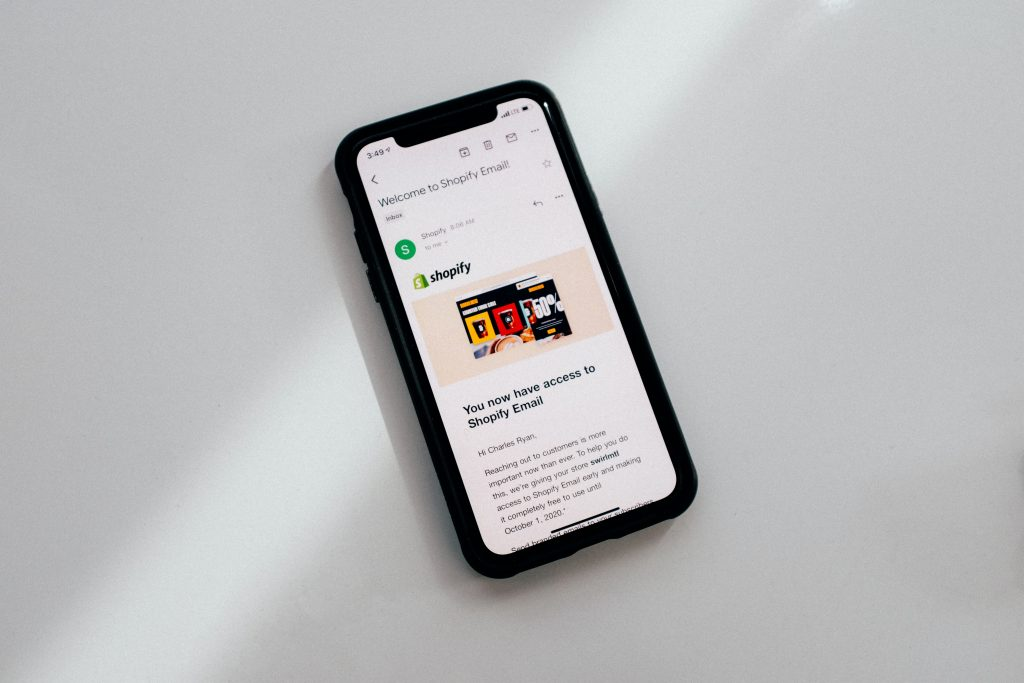 Shopify email on the phone screen
