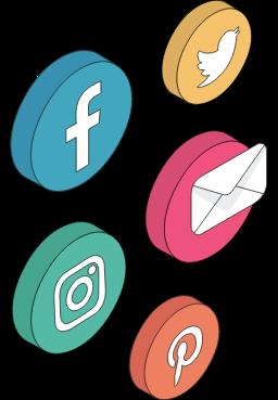 Facebook, Instagram, Twitter, Pinterest, Gmail