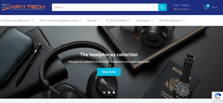 kayitech online store homepage
