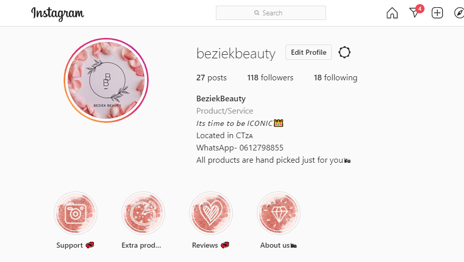instagram page beauty business